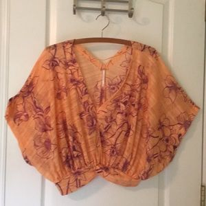 Free People One Dance Floral Blouse in Coral